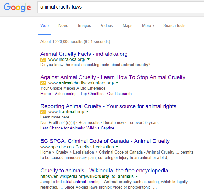 Example of Google ad - Animal Cruelty Laws