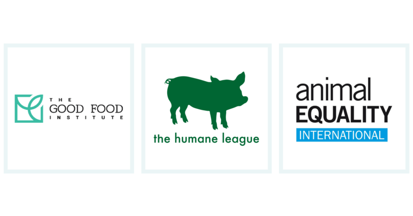Logos for The Good Food Institute, The Humane League, and Animal Equality