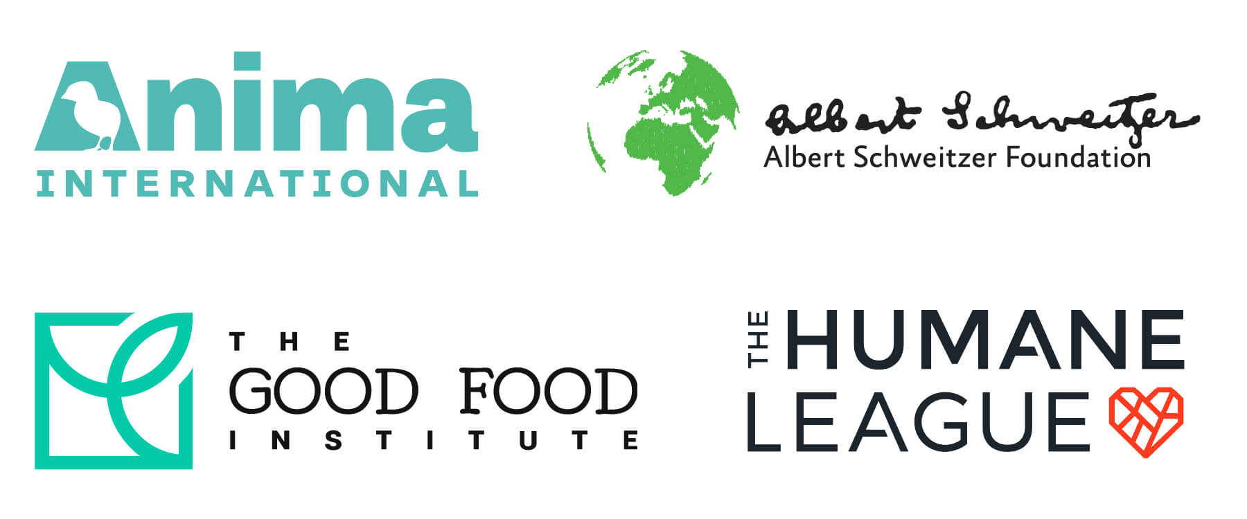 Albert Schweitzer Foundation, Anima International, The Good Food Institute, and The Humane League